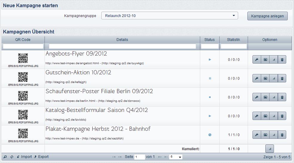 Listendarstellung bei QRtool.de