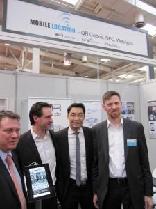 Mobile Location auf CeBIT 2013: Jimmy Schulz, Stephan Helbig, Philipp Rösler, Martin Buske (v.l.)