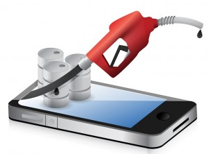 smartphone with a gas pump nozzle