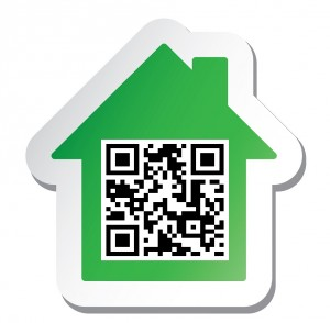 """Sticker with """"House for Sale"""" data in qr code"""